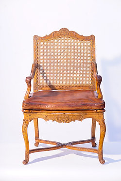 18th c. French Regence Walnut Chair with Leather Seat