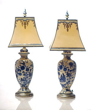 20th c. Chinese Style Blue and White Porcelain Lamps