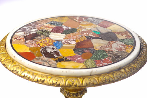 19th c. Italian Pietra Dura Giltwood Inlaid Pedestal Table