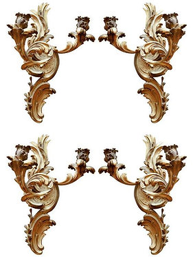 19th c. Dore Bronze Two-Arm Sconces, Electrified