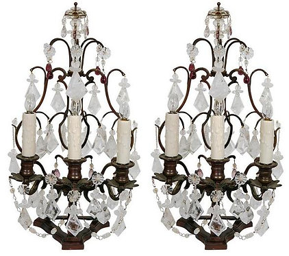 Pair 19th c. French Rock Crystal & Amethyst Glass Girandles