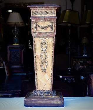 1900's Italian Faux Painted Carved Wood Pedestal