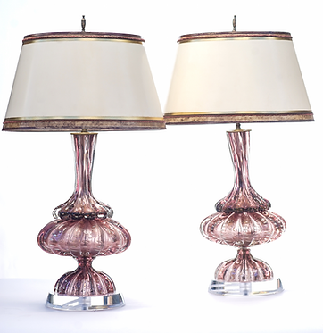 20th c. Italian Mid-Century Purple  Murano Lamps