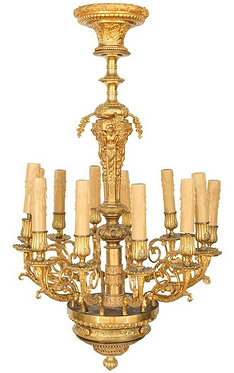 19th c. French Dore Bronze Chandelier