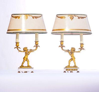 19th c. French Doré Bronze Cherub Lamps