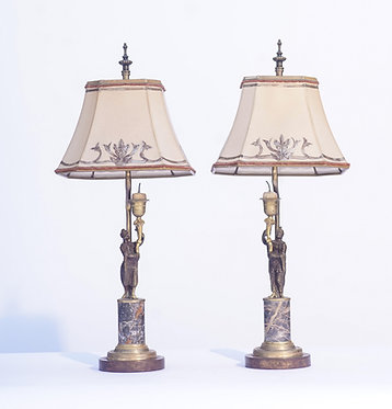 Bronze and Marble Figure Lamps