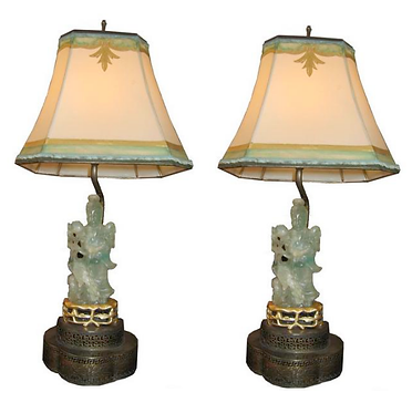 19th c. Fluorite Green Lamps