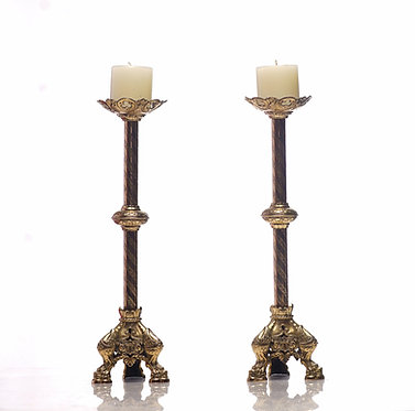 19th c. Brass French Candle Holders