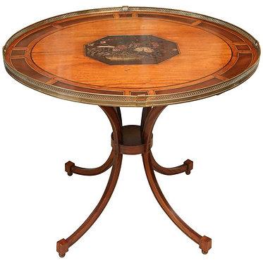 19th c. English Regency Table with Coromandel Inset Plaque