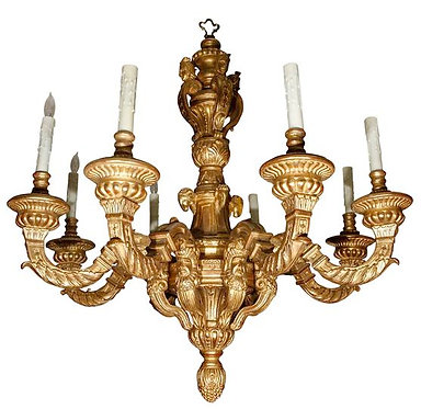 French Style Giltwood Chandelier with 8-arms
