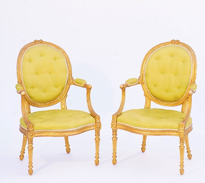 19th c. English Giltwood Armchairs