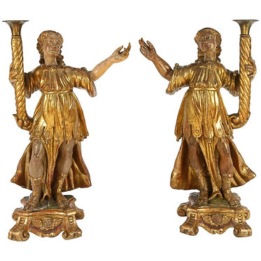 18th c. Italian Giltwood SaintsPair of Gilded Candle Figures