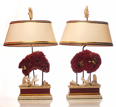 20th c. Red Coral Lamps