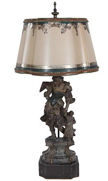 19th c. French Carved Wood Saint Lamp