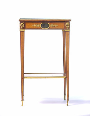 19th c. French Satinwood Table with Inset Marble Top and Bronze Accents