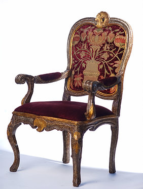 18th c. Italian Giltwood and Painted Arm Chair