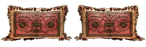 Pair 18th c. French Metal Thread Fragment Pillows