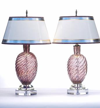 20th c. Italian Purple Mid-Century Murano Lamps