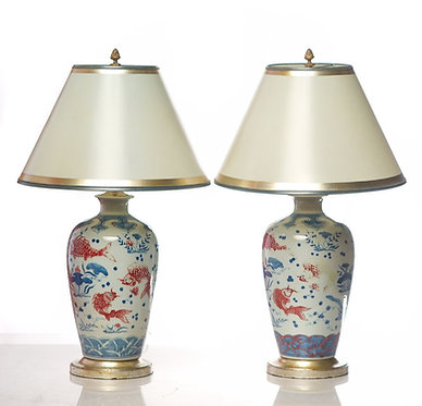 20th c. Chinese Porcelain Vases converted to Lamps