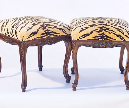 19th c. French Carved Walnut Stools