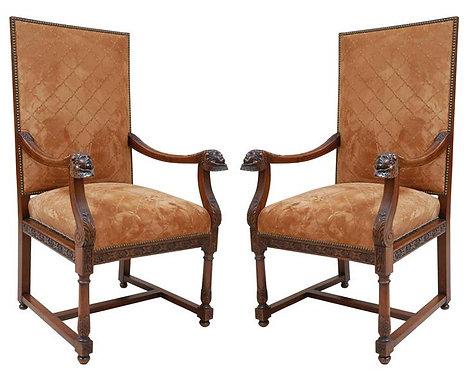 19th c. Italian Walnut Armchairs