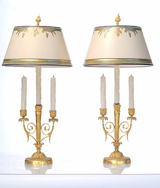 19th c. French Doré Bronze Candles converted to Lamps