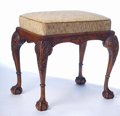 19th c. English Carved Walnut Stool