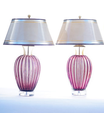 20th c. Italian Purple Mid-Century Murano Lamps