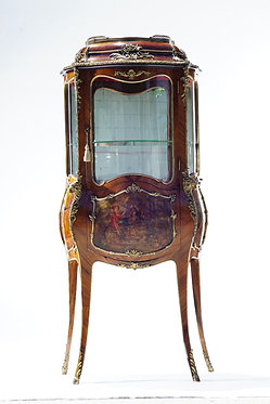 19th c. French Bronze Mounted Secretary Vitrine Cabinet