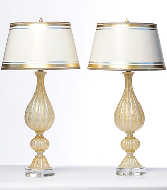 20th c. Italian Opaline and Gold Murano Lamps with Lucite Bases
