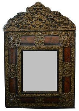 18th c. Burl and Reposse Dutch Mirror