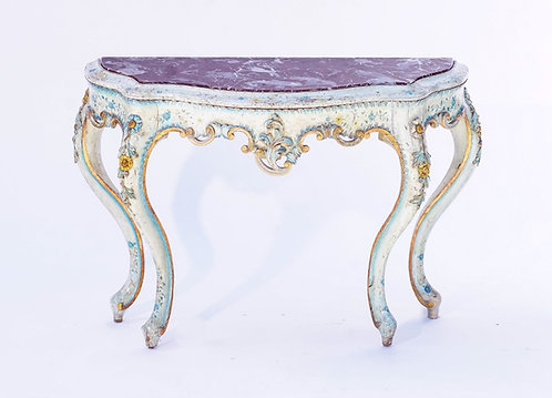 19th c. Venetian Painted Marble Top Console