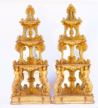 19th c. Venetian Carved Giltwood Corner Cabinets