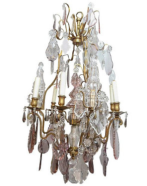 19th c. French Dore Bronze with Crystal Baccarat