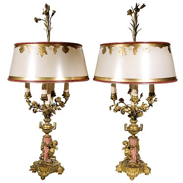 19th c. French Bronze and Coral Marble Lamps