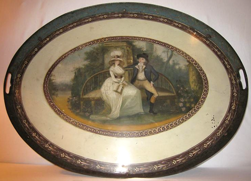 18th c. Oval Painted Tole Tray