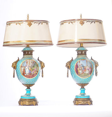 19th c. French Sévres Painted Porcelain and Bronze Lamps