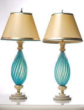 20th c. Italian Aqua Mid-Century Murano Lamps  SOLD