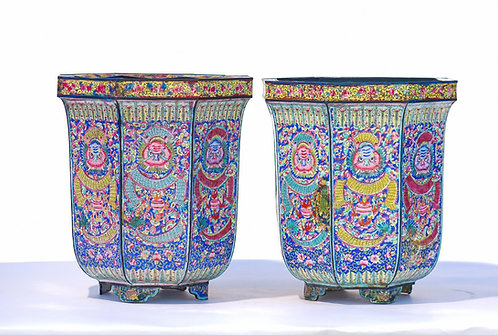 1900's Chinese Enameled Planters