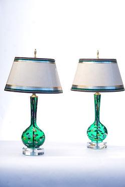 20th c. Italian Green Mid-Century Murano Lamps  SOLD