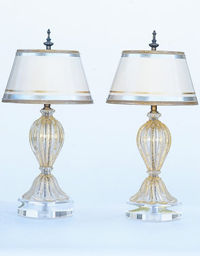 20th c. Italian Miniature Oro Clear and Gold Mid-Century Murano Lamps