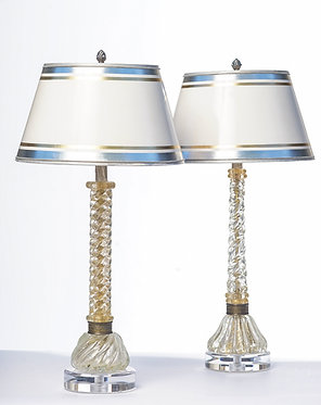 20th c. Italian Clear and Gold Twist Mid-Century Murano Lamps