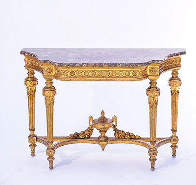 19th c. French Giltwood Marble Top Console