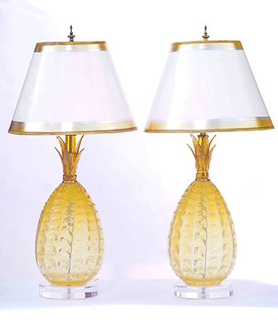 20th c. Pineapple Murano Lamps with Lucite Bases