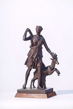 19th c.  FrenchcBronze Statue Diana the Huntress
