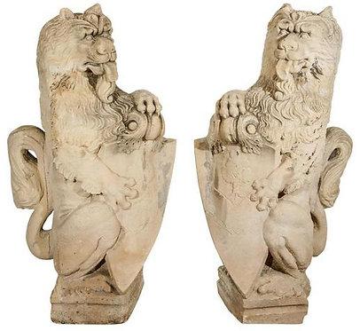 18th c. French Limestone Lions