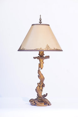 19th c. French Doré Bronze Lamp