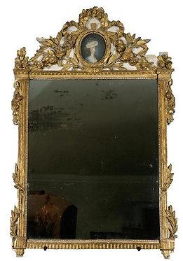 18th c. French Giltwood Lady Portrait Mirror