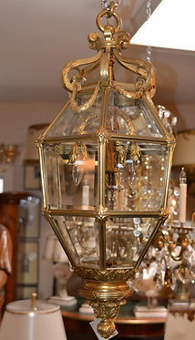 19th c. French Dore Bronze Lantern, Signed by Maker, Paris
