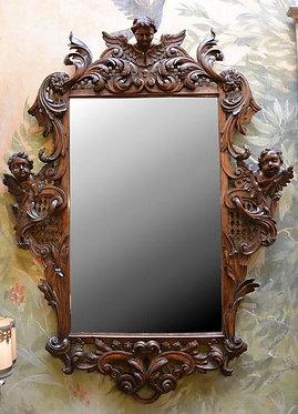 18th c. Italian Walnut Carved Mirror